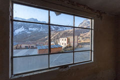 Old schoolyard mountain town window view, Bolivia. Royalty Free Stock Photography
