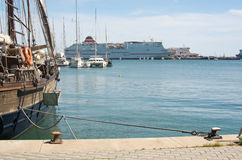 Old schooner and ferry Fortuny Royalty Free Stock Image