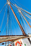 Old Schooner mast and Rope Royalty Free Stock Photo