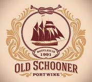 Old Schooner - port wine label. Retro-styled port wine label including the image of a sailboat. Editable vector illustration Royalty Free Stock Image