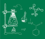 Old science and chemistry  laboratory. Sketches on school board Royalty Free Stock Photography
