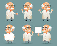 Old Scientist Character Icons Set Retro Cartoon Design Mobile Game Vector Illustration Royalty Free Stock Photos