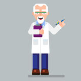 Old scientist character wearing glasses and lab coat with pen Stock Images