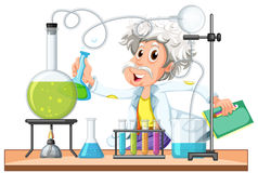 Old scientist works in lab. Illustration vector illustration