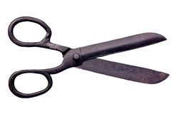 Old scissors. A pair of rusty old scissors or seamstress shears. Isolated Stock Photography