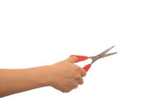 Old scissors in boys hand. Isolated Royalty Free Stock Photography