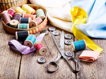Old scissors, buttons, threads Royalty Free Stock Photo