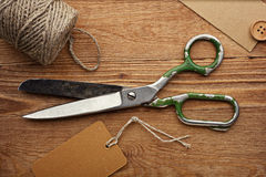 Old Scissors, Jute and Tag Stock Image