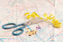 Old scissors and measuring tape. Old scissors and yellow tape measure Royalty Free Stock Image