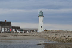 Old Scituate Light on a Cloudy Day Stock Image