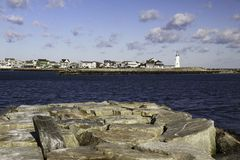 Old Scituate Lighthouse and Jetty Stock Photo