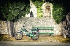 Old scooter in dalmatian village on Peljesac peninsula in Croatia Stock Photo