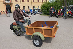 Old scooter Lambretta 125 FC with cargo box (1951) Stock Images
