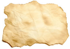 Old scorched paper sheet. Isolated Royalty Free Stock Images