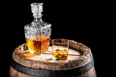 Old Scotch tasting in the cellar. Isolated on a black background Royalty Free Stock Image