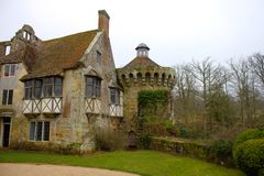 14th century old Scotney castle in South England royalty free stock photo