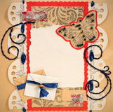 Old Scrapbook Photo Frame Stock Photography