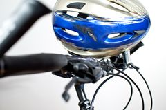 Old Scraped Safety Helmet. On The Bike Royalty Free Stock Photo
