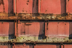 Old Scrapped Red Painted Corroded Buoyant Metal Tanks Stock Photo