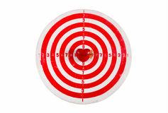 Old scratched darts target with heart and arrow Stock Photography