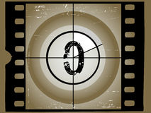 Old Scratched Film Countdown 0 Stock Images