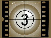 Old Scratched Film Countdown 3. Old Scratched Film Countdown at No 3 Stock Images