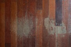 Old scratched hardwood flooring in need of maintenance. stock image