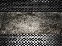 Old scratched metal plate on the background grid Royalty Free Stock Images