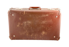 Old scratched suitcase isolated Royalty Free Stock Photo