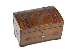 Old scratched wooden casket with an ornament Royalty Free Stock Image