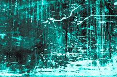 Old scratchy wooden board with colors and chalk mainly turquoise Stock Photo