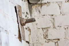 Old screw head in brick. Realistic image with old rusty screw he. Ad, bolt, wheel screw isolated on brick wall background Royalty Free Stock Images