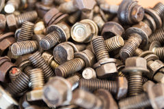 Old screw Hexagon and spring washer Royalty Free Stock Photo