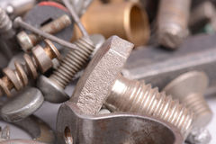 Old screw and nail metal head collection Stock Photo