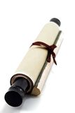 Old scroll. Old Chinese scroll on white Royalty Free Stock Photo