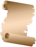 Old scroll. Unrolled raged edges brown ancient parchment clipart Stock Photos