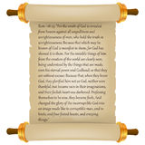 Old scroll with Bible text. Parchment realistic. Vintage blank paper scroll isolated on white background. Vector illustration. Royalty Free Stock Images