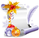 Old scroll for christmas invitation Royalty Free Stock Image