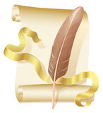 Old scroll, golden ribbon and quill Royalty Free Stock Images