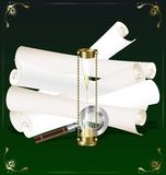 old scroll, hourglass and magnifer Royalty Free Stock Photos