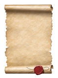 Old scroll or letter with wax seal isolated 3d illustration. Old scroll or letter with wax seal isolated on white 3d illustration Royalty Free Stock Images