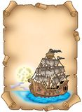 Old scroll with mysterious ship Royalty Free Stock Image