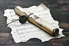 Old scroll and notes Stock Image