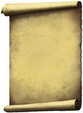 Old Scroll paper. Expanded vertically isolated on white Royalty Free Stock Images