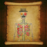 Old scroll paper with a skeleton  on vintage wooden background Royalty Free Stock Image