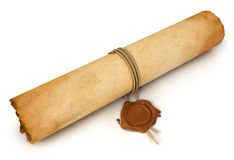 Old Scroll paper with wax seal Stock Photography