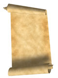 Old scroll parchment. Old scroll grunge parchment isolated on white Royalty Free Stock Photography