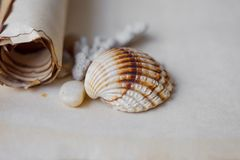 Old scroll of parchment with sea pebbles and Royalty Free Stock Image