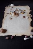 Old scroll of parchment with sea pebbles and Stock Photos