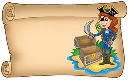 Old scroll with pirate girl. Color illustration Royalty Free Stock Images